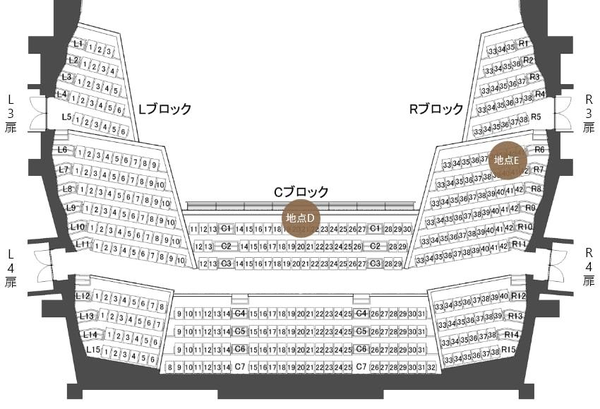 コミネス大ホール2階客席平面図